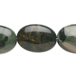 bead, green jasper (natural), 24x18mm-25x19mm puffed oval, b grade, mohs hardness 6-1/2 to 7. sold per 15-inch strand.