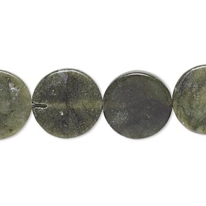bead, green jungle jasper (natural), 15-16mm flat round, c grade, mohs hardness 2-1/2 to 6. sold per 15-inch strand.
