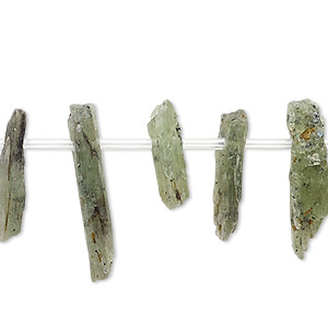 bead, green kyanite (natural), 15x3mm-25x7mm hand-cut top-drilled stick, c- grade, mohs hardness 4 to 7-1/2. sold per 8-inch strand, approximately 20 beads.
