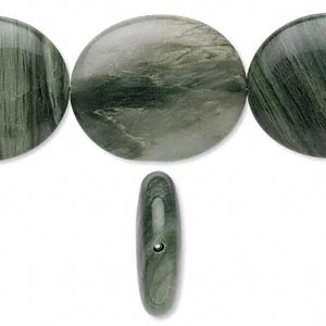 bead, green line jasper (natural), 30x25mm oval, b grade, mohs hardness 6-1/2 to 7. sold per 16-inch strand.