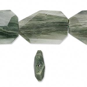 bead, green line jasper (natural), 35x25mm faceted freeform, b grade, mohs hardness 6-1/2 to 7. sold per 16-inch strand.