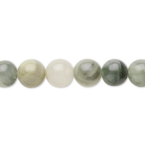 bead, green line jasper (natural), 8mm round, c grade, mohs hardness 6-1/2 to 7. sold per 16-inch strand.