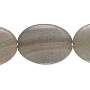 bead, green line stone (natural), 40x30mm flat oval, b- grade, mohs hardness 3. sold per pkg of 3.