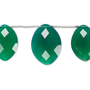 bead, green onyx (dyed), 18x13mm and 20x15mm hand-cut top-drilled faceted puffed marquise, b grade, mohs hardness 6-1/2 to 7. sold per pkg of 3 beads.