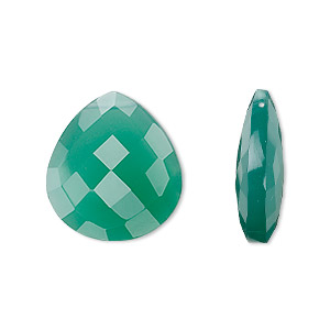 bead, green onyx (dyed), 20x18mm hand-cut top-drilled faceted puffed teardrop, a grade, mohs hardness 6-1/2 to 7. sold per pkg of 2.