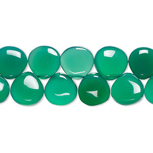 bead, green onyx (dyed), 6-10mm top-drilled hand-cut graduated teardrop with 0.4-1.4mm hole, b+ grade, mohs hardness 6-1/2 to 7. sold per 8-inch strand, approximately 50-55 beads.
