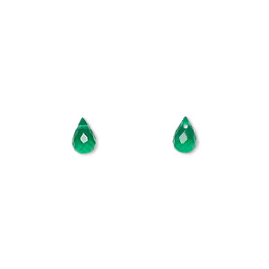 bead, green onyx (dyed), 6x4mm hand-cut top-drilled faceted briolette, b grade, mohs hardness 6-1/2 to 7. sold per pkg of 2.