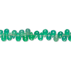 bead, green onyx (dyed), light to medium, 5x3mm-6x4mm hand-cut top-drilled faceted teardrop, b grade, mohs hardness 6-1/2 to 7. sold per 4-inch strand.
