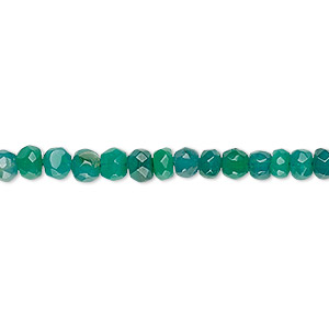 bead, green onyx (dyed), medium to dark, 4x2mm-5x4mm hand-cut tumbled rondelle, c grade, mohs hardness 6-1/2 to 7. sold per 13-inch strand.