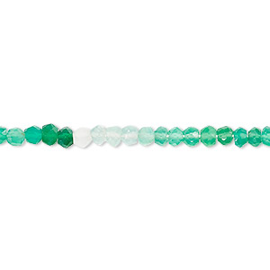 bead, green onyx (dyed), shaded, 3x2mm-4x3mm hand-cut faceted rondelle, b grade, mohs hardness 6-1/2 to 7. sold per 13-inch strand.