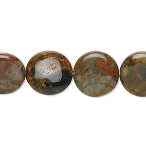 bead, green opal (natural), 14mm flat round, b grade, mohs hardness 4-1/2 to 6. sold per 16-inch strand.