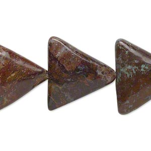 bead, green opal (natural), 21x21x21mm flat triangle, b- grade, mohs hardness 4-1/2 to 6. sold per 16-inch strand.