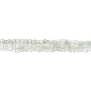 bead, green quartz (heated), 4x1mm-6x2mm hand-cut square rondelle with 0.4-1.4mm hole, b+ grade, mohs hardness 7. sold per 8-inch strand, approximately 95-150 beads.