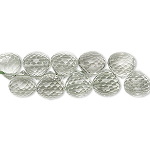 bead, green quartz (heated), 8x8mm hand-cut top-drilled faceted teardrop, b grade, mohs hardness 7. sold per pkg of 10.