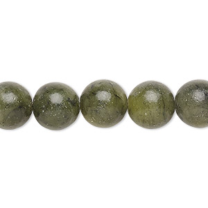 bead, green serpentine (natural), 10mm round, b grade, mohs hardness 2-1/2 to 6. sold per 16-inch strand.