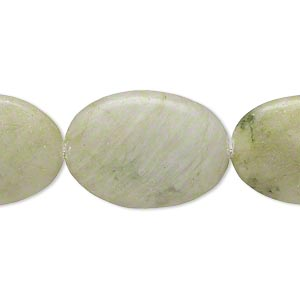 bead, green serpentine (natural), 24x17mm-25x18mm flat oval, b- grade, mohs hardness 2-1/2 to 6. sold per 15-inch strand.