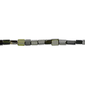 bead, green tourmaline (natural), 3x2mm-5x4mm hand-cut flat rectangle, a- grade, mohs hardness 7 to 7-1/2. sold per 12-inch strand.