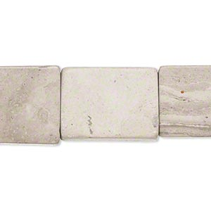 bead, grey and cream marble (natural), 19x14mm-21x15mm flat rectangle, c grade, mohs hardness 3. sold per 15-inch strand.