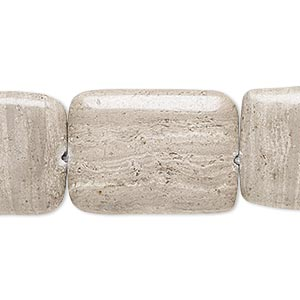 bead, grey and cream marble (natural), 25x18mm-26x19mm flat rectangle, c+ grade, mohs hardness 3. sold per 15-inch strand.