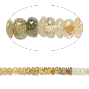 bead, grossularite and hessonite garnet (natural), shaded, 3x2mm-4x3mm hand-cut rondelle, b- grade, mohs hardness 6-1/2 to 7-1/2. sold per 14-inch strand.