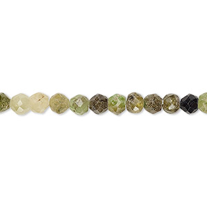 bead, grossularite garnet (natural), 4-5mm hand-cut faceted round, d grade, mohs hardness 7 to 7-1/2. sold per 8-inch strand.