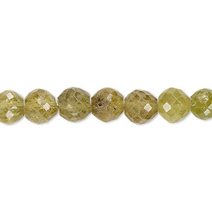 bead, grossularite garnet (natural), 7-8mm hand-cut faceted round, c+ grade, mohs hardness 6-1/2 to 7-1/2. sold per 8-inch strand.