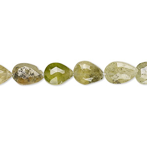 bead, grossularite garnet (natural), 9x7mm-11x8mm hand-cut faceted puffed teardrop, c+ grade, mohs hardness 7 to 7-1/2. sold per 7-inch strand.