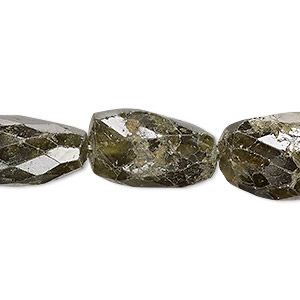 bead, grossularite garnet (natural), medium to large hand-cut faceted nugget, mohs hardness 6-1/2 to 7-1/2. sold per 7-inch strand.
