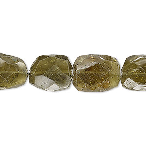bead, grossularite garnet (natural), small to medium hand-cut faceted flat nugget, mohs hardness 6-1/2 to 7-1/2. sold per 7-inch strand.