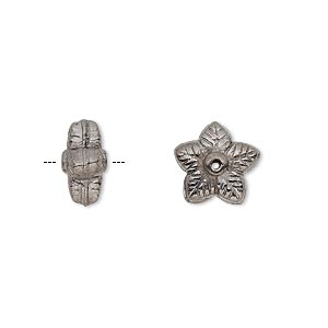 bead, gunmetal-finished copper, 11x6mm flower rondelle. sold per pkg of 12.