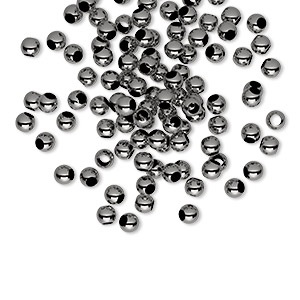 bead, gunmetal-plated brass, 3mm micro round, 2mm inside diameter. sold per pkg of 100.
