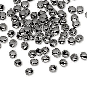 bead, gunmetal-plated brass, 4x4mm rounded square. sold per pkg of 100.