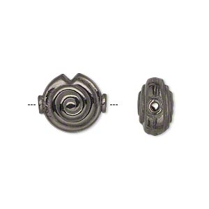 bead, gunmetal-plated copper, 14x12mm double-sided puffed flat round with spiral design and triangle cutout. sold per pkg of 8.
