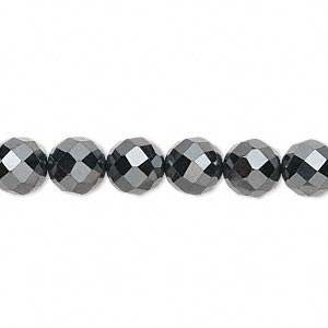 bead, hemalyke™ (man-made), 8mm faceted round. sold per 16-inch strand.