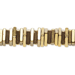 bead, hemalyke™ (man-made), antique gold, 4x1mm square rondelle. sold per 8-inch strand, approximately 200 beads.