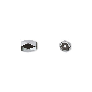 bead, hemalyke™ (man-made), magnetic, 9x6mm faceted rectangle. sold per pkg of 10.