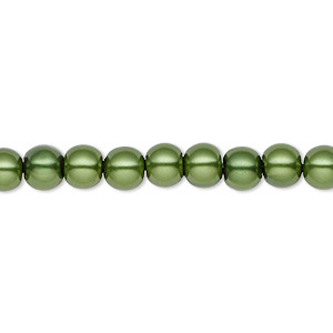 bead, hemalyke™ (man-made), magnetic, emerald green, 6mm round. sold per 16-inch strand.