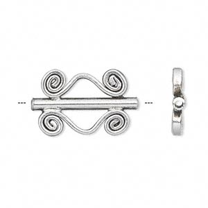 bead, hill tribes, antique silver-plated brass, 22x14mm double-sided fancy tube with swirls. sold per pkg of 2.