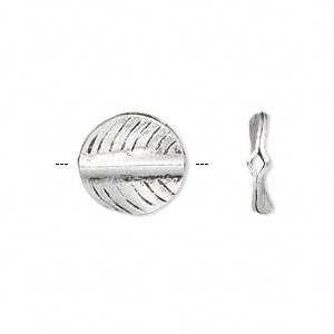 bead, hill tribes antique silver-plated copper, 15mm double-sided curved flat round with leaf design. sold per pkg of 2.