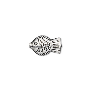 bead, hill tribes, antique silver-plated copper, 16x10mm double-sided fish. sold individually.