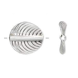 bead, hill tribes antique silver-plated copper, 19mm double-sided curved flat round with leaf design. sold individually.