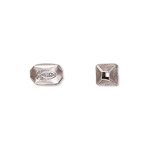 bead, hill tribes, antiqued fine silver, 10.5x6mm rectangle with fish. sold per pkg of 4.