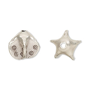 bead, hill tribes, antiqued fine silver, 14x14mm star. sold individually.