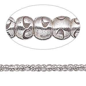bead, hill tribes, antiqued fine silver, 3x3mm rondelle with circle design. sold per 8-inch strand, approximately 70 beads.