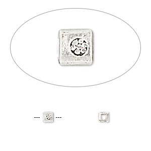 bead, hill tribes, antiqued fine silver, 3x3mm square with flower. sold per pkg of 10.