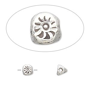 bead, hill tribes, antiqued fine silver, 6x5mm triangle rondelle with stamped sun design. sold per pkg of 2.