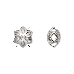 bead, hill tribes, antiqued silver-plated copper, 12x12mm double-sided puffed flower with swirl design. sold per pkg of 4.