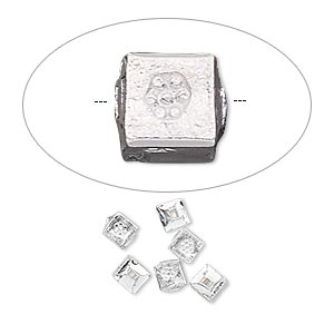 bead, hill tribes, silver-plated copper, 4x4mm cube with flower design. sold per pkg of 6.