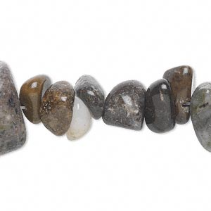 bead, himalayan riverstone (natural), medium tumbled chip, mohs hardness 3-1/2. sold per 16-inch strand. minimum 5 per order.