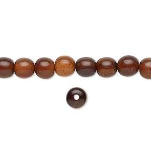 bead, horn (dyed / waxed), golden, 6mm hand-cut round. sold per 16-inch strand.
